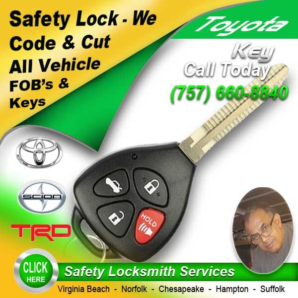 Toyota Keys Fobs Repair Call Safety Locksmith 757-660-8840